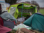 © Joel Goodman - 07973 332324 . No syndication permitted . 27/11/2013 . Manchester , UK . Tents pitched alongside the access road to the site . Energy firm IGas have today (Wednesday 27th November 2013) been receiving drilling equipment in readiness for exploratory drilling at the site . Anti fracking protesters have established a camp at Barton Moss in Greater Manchester alongside an access road leading to an IGas drilling site .  Photo credit : Joel Goodman