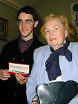 Aengus McHugh who recieved the Peader McCann prize for best Leaving Cert with his grandmother Peggy McHugh..Picture Paul Mohan Newsfile