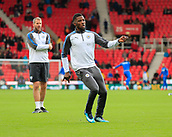 4th November 2017, bet365 Stadium, Stoke-on-Trent, England; EPL Premier League football, Stoke City versus Leicester City; Kelechi Iheanacho of Leicester City warms up for the game