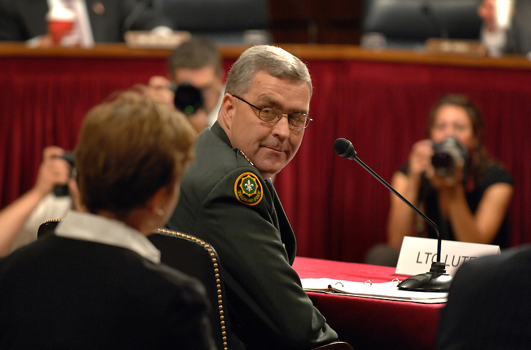 Army Lt. Gen. Douglas Lute acknowledges his wife Jane Holl Lute during a Senate Armed Services Committee hearing on the General's nomination to be assistant to the president and deputy national security adviser for Iraq and Afghanistan.