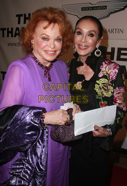 PAULA KENT MEEHAN & MARY ANN MOBLEY.Thalians 52nd Anniversary Gala honoring Sir Roger Moore aka James Bond held at the Beverly Hilton Hotel, Beverly Hills, California, USA..October 21st, 2007.half length black purple pink floral print .CAP/ADM/CH.©Charles Harris/AdMedia/Capital Pictures.