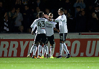 Fulham players celebrate their goal during the Carabao Cup match between Wycombe Wanderers and Fulham at Adams Park, High Wycombe, England on 8 August 2017. Photo by Alan  Stanford / PRiME Media Images.