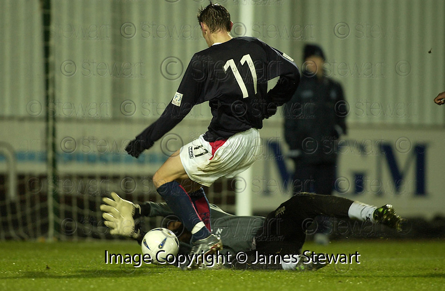 01/01/2005  Copyright Pic : James Stewart.File Name : jspa12_falkirk_v_raith-rovers.RUDY POUNOUSSAMY SAVES AT THE FEET OF DAYRLL DUFFY.Payments to :.James Stewart Photo Agency 19 Carronlea Drive, Falkirk. FK2 8DN      Vat Reg No. 607 6932 25.Office     : +44 (0)1324 570906     .Mobile   : +44 (0)7721 416997.Fax         : +44 (0)1324 570906.E-mail  :  jim@jspa.co.uk.If you require further information then contact Jim Stewart on any of the numbers above.........