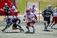 College Park, MD - April 8, 2017: Maryland Terrapins Matt Neufeldt (28) knocks the ball loose during game between Penn State and Maryland at  Capital One Field at Maryland Stadium in College Park, MD.  (Photo by Elliott Brown/Media Images International)