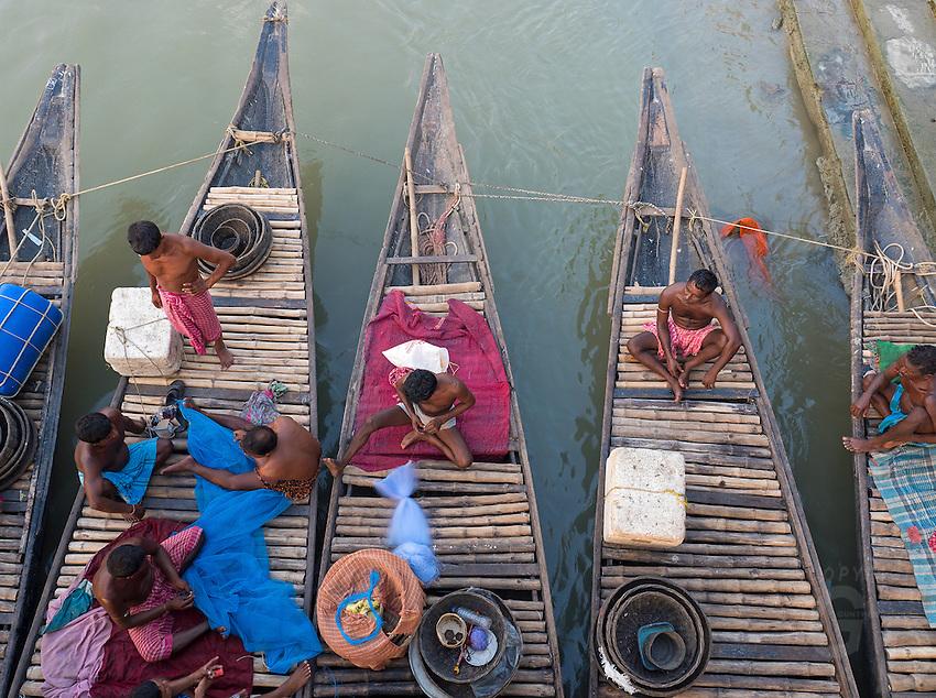 Princep Ghat, Kolkata, West Bengal (India) fishing boats