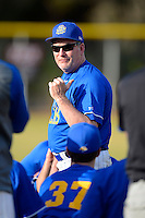 South Dakota State Jackrabbits head coach Dave Schrage #13 after a game against the Ohio State Buckeyes at North Charlotte Regional Park on February 23, 2013 in Port Charlotte, Florida.  Ohio State defeated South Dakota State 5-2.  (Mike Janes/Four Seam Images)