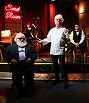 """John Guild, Eddie Varley and Steve Tardio during the Epress preview for """"Truffles: Music! Mushroom Murder!!!"""" at Secret Room on November 15, 2019 in New York City."""