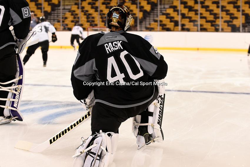 September 18, 2015 - Boston, Massachusetts, U.S. - Boston Bruins goalie Tuukka Rask (40) watches teammates warm up with an empty net during the Boston Bruins training camp held at TD Garden in Boston Massachusetts. Eric Canha/CSM