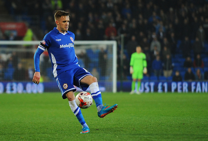 Cardiff City's Craig Noone in action during todays match  <br /> <br /> Photographer Kevin Barnes/CameraSport<br /> <br /> Football - The Football League Sky Bet Championship - Cardiff v Bournemouth - Tuesday 17th March 2015 - Cardiff City Stadium - Cardiff<br /> <br /> &copy; CameraSport - 43 Linden Ave. Countesthorpe. Leicester. England. LE8 5PG - Tel: +44 (0) 116 277 4147 - admin@camerasport.com - www.camerasport.com