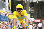 Alberto Contador after finishing the last time trial stage of the 2009 Tour de France at Annecy, 23rd July 2009 (Photo by Manus OReilly/NEWSFILE)