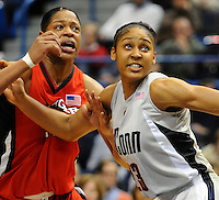 F:\DPF\Wednesday Sports\Hartford CT UCONN Women's Basketball vs. Rutgers #5 Feb 3  2009.jpg\Maya Moore fights for position with Kia Vaughn after a missed Rutgers free throw.  Rutgers was 5-13 from the line.  UCONN won the Bit East contest 75-56 in Hartford Tuesday night.\Steve McLaughlin