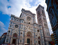 Duomo Entrance Facade and Campanile, seen from Piazza Del Duomo, Florence, Tuscany Region, Italy