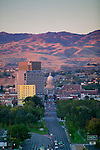 The dome of Idaho's State Capitol rises 208 feet into the Boise skyline, a classical architectural form prominent among the city's modern multi-story buildings and the landscape's rolling foothills. The Renaissance Revival Capitol is Idaho's most significant historic structure and a building that reflects the state's political, social, and economic history...Over 100 years since conception, the Capitol continues to function as the seat of Idaho's state government, currently housing the executive and legislative branches and numerous state offices, which occupy much of the approximately 111,600 square feet of usable space...The Capitol and its surrounding grounds occupy two blocks of the urban grid, providing grounds proportional to the building's roughly 328-foot north and south facades and its depth of approximately 170 feet established by the east/west axis.