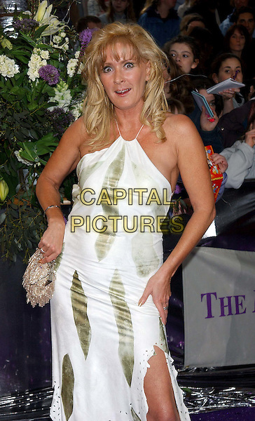 BEVERLEY CALLARD.British Soap Awards 2004. BBC Centre, Wood Lane, London.May 8th, 2004.half length, half-length, white print dress, halterneck, funny face.www.capitalpictures.com.sales@capitalpictures.com.© Capital Pictures.