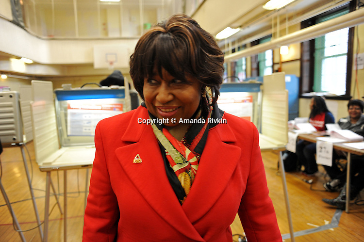 Candidate Carol Moseley Braun, a former U.S. Senator and Ambassador to New Zealand, is seen in the gymnasium at Ray School in Hyde Park after voting in the Chicago mayoral elections in Chicago, Illinois on February 22, 2011.