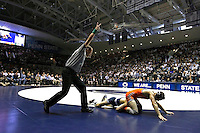 STATE COLLEGE, PA - FEBRUARY 16: Nico Megaludis of the Penn State Nittany Lions during a 125 pound match against Eddie Klimara of the Oklahoma State Cowboys on February 16, 2014 at Rec Hall on the campus of Penn State University in State College, Pennsylvania. Penn State won 23-12. (Photo by Hunter Martin/Getty Images) *** Local Caption *** Nico Megaludis;Eddie Klimara
