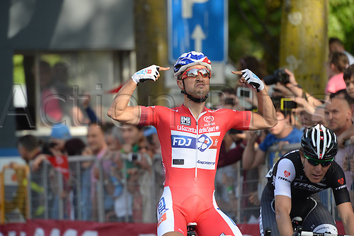 20.05.2014. Modena to Salsomaggiore, Italy. Giro D Italia Stage 10.  FDJ.fr 2014, Bouhanni Nacer crosses the finish line in Salsomaggiore