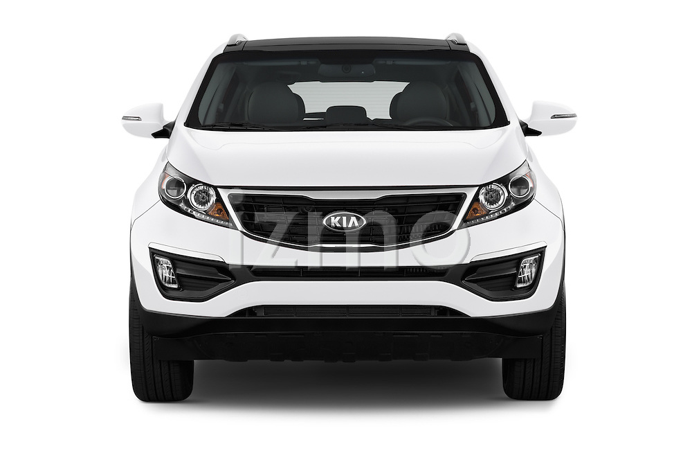 Car photography straight front view of a 2016 KIA Sportage SX 5 Door Suv Front View