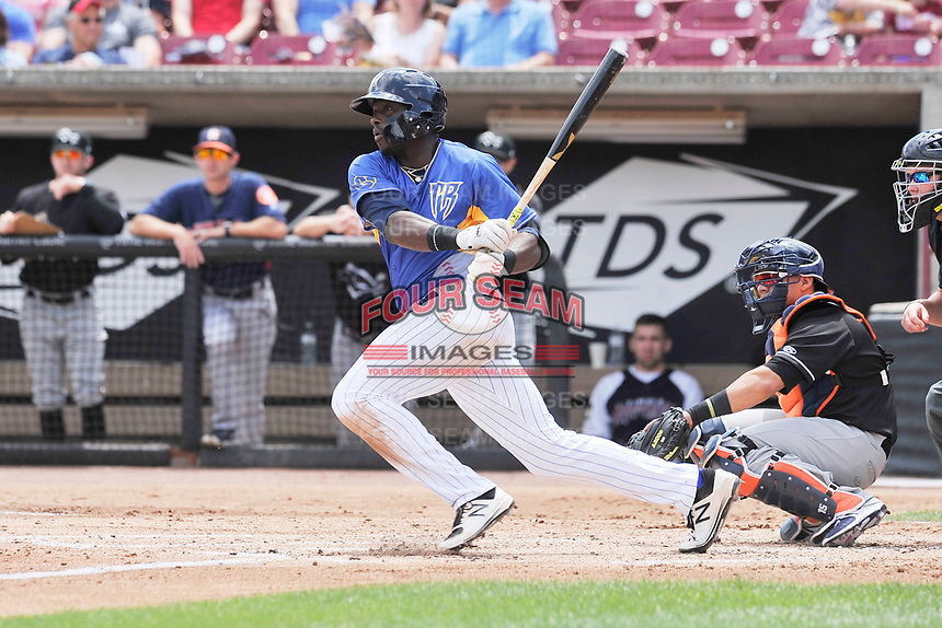 Wisconsin Timber Rattlers right fielder Demi Orimoloye (6) during a game against the Quad Cities River Bandits at Fox Cities Stadium on June 27, 2017 in Appleton, Wisconsin.  Wisconsin lost 6-5.  (Dennis Hubbard/Four Seam Images)
