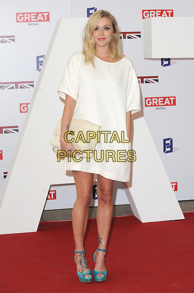 Fearne Cotton .The UK Creative Industries Reception supported by The Founders Forum, at the Royal Academy of Arts, London, as part of HM Government's GREAT campaign alongside the very best of the UK Creative Industries from the fields of music, film, art and entertainment..30th July 2012 .full length white dress cream clutch bag blue turquoise ankle strap shoes .CAP/BEL.©Tom Belcher/Capital Pictures.