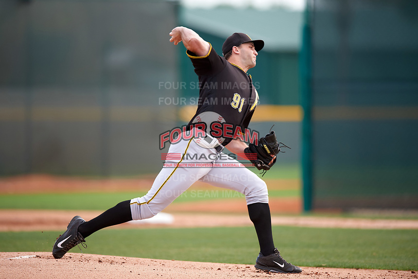 Pittsburgh Pirates Bret Helton (91) during a minor league Spring Training intrasquad game on April 3, 2016 at Pirate City in Bradenton, Florida.  (Mike Janes/Four Seam Images)