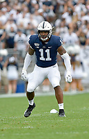 UNIVERSITY PARK, PA - AUGUST 31: Penn State LB Micah Parsons (11) reads the play during the Idaho Vandals versus the Penn State Nittany Lions August 31, 2019 at Beaver Stadium in University Park, PA. (Photo by Randy Litzinger/Icon Sportswire)
