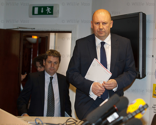 Joint Administrators Paul Clark and David Whitehouse arrive at Ibrox to announce that US businessman Bill Miller is the preferred bidder for the assets of Rangers