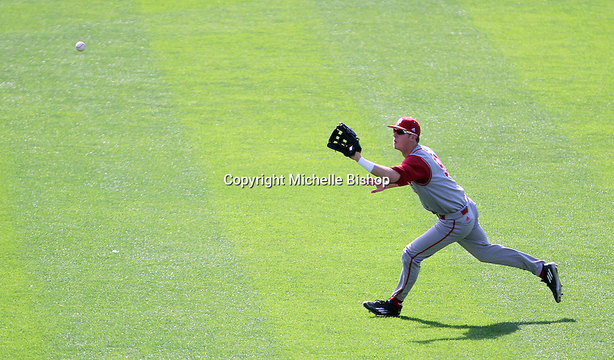 Logan Sowers tracks down a fly ball during the third inning. Indiana's 6-2 win eliminated Nebraska from the Big Ten Tournament at TD Ameritrade Park in Omaha, Neb. on May 26, 2016. (Photo by Michelle Bishop)