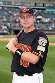 August 28 2008:  Third baseman Luke Hughes (18) of the Rochester Red Wings, Class-AAA affiliate of the Minnesota Twins, during a game at Frontier Field in Rochester, NY.  Photo by:  Mike Janes/Four Seam Images