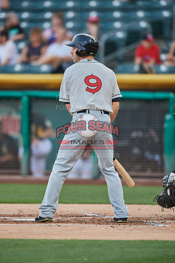 Dusty Coleman (9) of the El Paso Chihuahuas bats against the Salt Lake Bees at Smith's Ballpark on August 14, 2018 in Salt Lake City, Utah. El Paso defeated Salt Lake 6-3. (Stephen Smith/Four Seam Images)
