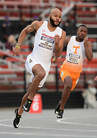 NWA Democrat-Gazette/ANDY SHUPE<br /> Arkansas' Roy Ejiakuekwu competes Thursday, May 9, 2019, in the 200 meters during the SEC Outdoor Track and Field Championships at John McDonnell Field in Fayetteville. Visit nwadg.com/photos to see more photographs from the meet.