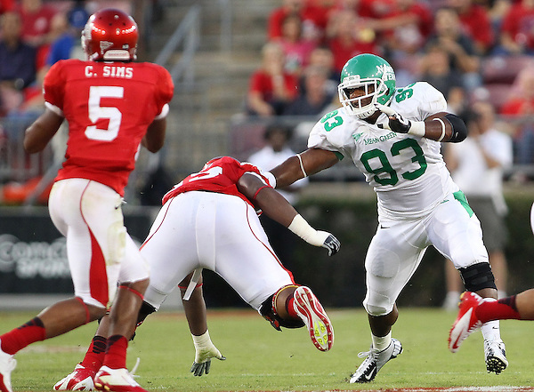 Denton, TX - OCTOBER 6: Wide receiver Carl Caldwell #83 of the North Texas Mean Green in action against the Houston Cougars at Robertson Stadium in Houston on October 6, 2012 in Houston, Texas. Photo by: Rick Yeatts