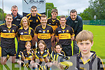 Mark Cooper from Dr Crokes GAA club in Killarney who are the first club in the county to offer their underage players club boots with their club crest on them ..Eva Quinn,  Ava Sheehan, Mark Clifford. Middle row: Andrew Kennelly, Lynn Jones, Luke Quinn and Kieran O'Leary. Back row: Anthony Moriarty rclub sportswear, Michael O'Keeffe, Michael Lenihan and Martin McKivergan rclub sportswear..