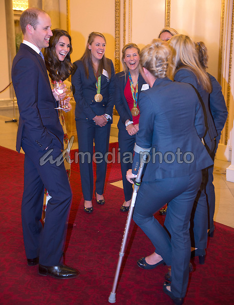 18 October 2016 - London, England - Prince William Duke of Cambridge and Princess Kate Duchess of Cambridge chats to Womens Hockey Team Saskia Clark at a reception for Team GB and ParalympicsGB medallists from the 2016 Rio Olympic and Paralympic Games Buckingham Palace London. Photo Credit: Alpha Press/AdMedia