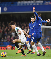 Marcos Alonso of Chelsea and Lee Chung-yong of Palace <br /> Londra 10-03-2018 Premier League <br /> Chelsea - Crystal Palace<br /> Foto PHC Images / Panoramic / Insidefoto <br /> ITALY ONLY