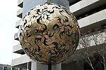 Crann an Oir, Tree of Gold, sculpture artwork, Central Bank of Ireland,  Dublin, Ireland, Irish Republic by Eamonn O'Doherty 1991