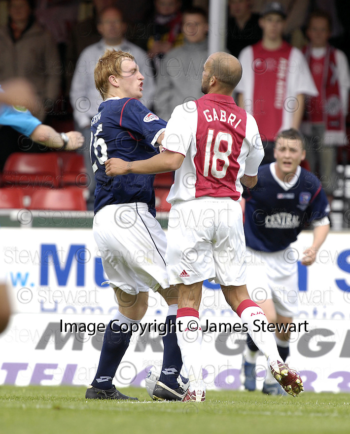 28/07/2007       Copyright Pic: James Stewart.File Name : sct_jspa02_falkirk_v_ajax.LIAM CRAIG CLASHES WITH GABRI.James Stewart Photo Agency 19 Carronlea Drive, Falkirk. FK2 8DN      Vat Reg No. 607 6932 25.Office     : +44 (0)1324 570906     .Mobile   : +44 (0)7721 416997.Fax         : +44 (0)1324 570906.E-mail  :  jim@jspa.co.uk.If you require further information then contact Jim Stewart on any of the numbers above........