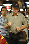 Pat Kuykendall reacts to winning a hand.