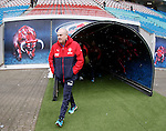 Mark Warburton at the Red Bull Arena in Lepzig as the snow starts to fall