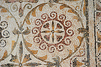 Pictures of a geometric  Roman mosaics design, from the ancient Roman city of Thysdrus. 3rd century AD. El Djem Archaeological Museum, El Djem, Tunisia.