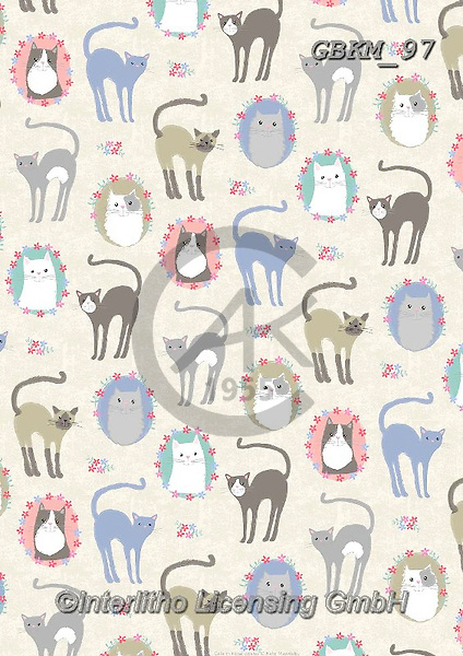 Kate, GIFT WRAPS, GESCHENKPAPIER, PAPEL DE REGALO, paintings+++++Cats in floral posies,GBKM97,#gp#, EVERYDAY ,cat,cats