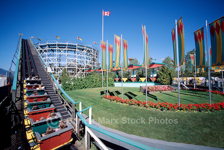 The Historic Wooden Roller Coaster (built 1958) at Playland, at the Pacific National Exhibition (PNE), Vancouver, BC, British Columbia, Canada, Summer
