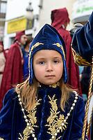 Bruderschaft Paso Azul  bei  der Semana Santa (Karwoche) in Lorca,  Provinz Murcia, Spanien, Europa