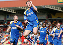 Joel Byrom of Stevenage Borough celebrates scoring the second goal during the Blue Square Premier match between Kidderminster Harriers and Stevenage Borough at the Aggborough Stadium, Kidderminster on Saturday 17th April, 2010..© Kevin Coleman 2010