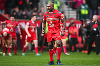 Picture by Alex Whitehead/SWpix.com - 19/03/2017 - Rugby League - Betfred Super League - Salford Red Devils v Castleford Tigers - AJ Bell Stadium, Salford, England - Salford's Robert Lui celebrates the win.