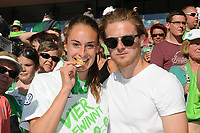 20170527 - KOELN , GERMANY : Wolfsburg's Tessa Wullaert and boyfriend  pictured after the final of German Women's Cup 2017 - Pokal Final Frauen , a soccer women game between SC Sand and holders VfL Wolfsburg  , at the Rhein Energie Stadion , saturday 27 th Mayl 2017 . PHOTO SPORTPIX.BE | DIRK VUYLSTEKE