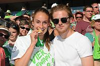 20170527 - KOELN , GERMANY : Wolfsburg's Tessa Wullaert and boyfriend  pictured after the final of German Women's Cup 2017 - Pokal Final Frauen , a soccer women game between SC Sand and holders VfL Wolfsburg  , at the Rhein Energie Stadion , saturday 27 th Mayl 2017 . PHOTO SPORTPIX.BE | DIRK VUYLSTEKE