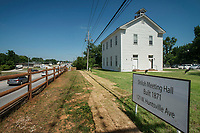 NWA Democrat-Gazette/BEN GOFF @NWABENGOFF<br /> A view of Shiloh Meeting Hall Saturday, June 30, 2018, during a grand opening for the renovated building in downtown Springdale. Constructed in 1871, the hall served as a home to multiple church congregations, fraternal organizations and other community functions over it's lifetime. In 2005 the Independent Order of Odd Fellows donated the building to the Shiloh Museum of Ozark History for it's restoration and preservation. The restored first floor will again be used by community groups and the museum for functions, and will be available to rent for events. The second floor, expected to open in 2020, will be an exhibit hall telling the story of the building and the history of the organizations that have called it home.