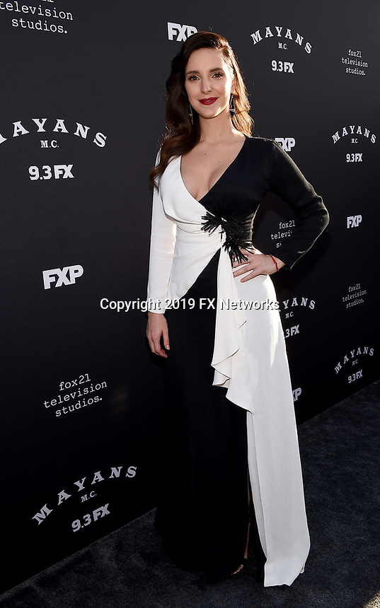 "LOS ANGELES - AUGUST 27: Carla Baratta attends the season two red carpet premiere of FX's ""Mayans M.C"" at the ArcLight Dome on August 27, 2019 in Los Angeles, California. (Photo by Frank Micelotta/FX/PictureGroup)"