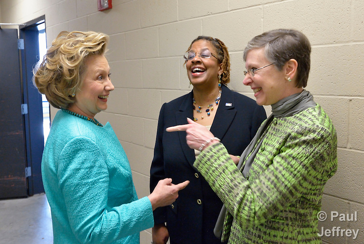 Hillary Rodham Clinton (left) speaks backstage with Yvette Richards and Harriett Olson before addressing participants at the United Methodist Women's Assembly during an April 26, 2014 worship service at the Kentucky International Convention Center in Louisville, Kentucky. Richards is president of United Methodist Women, and Olson is top executive of the organization. Clinton is a lifelong member of United Methodist Women.